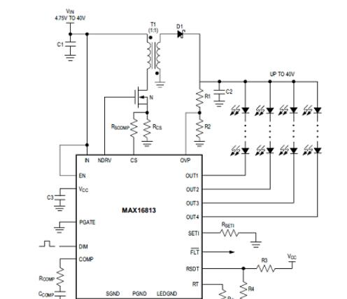 基于Maxim公司的MAX16813高效高亮(HB)LED四路驱动方案