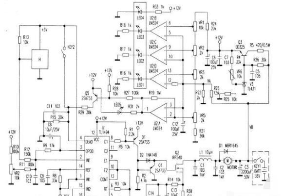 电动叉车控制器电路图(稳压电源/有刷控制器/89C2051控制器)