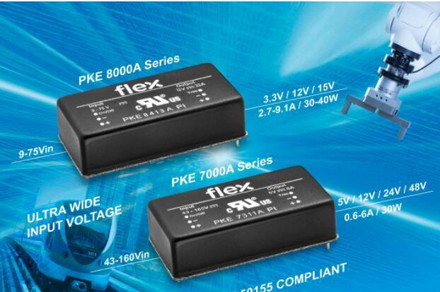 Flex电源模块推出超宽输入DC-DC转换器