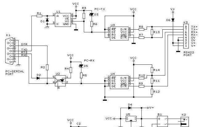 RS422光电隔离保护电路