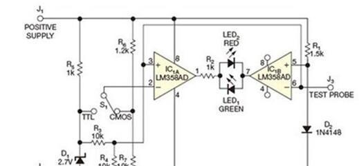 IC1B的逻辑探头电路图