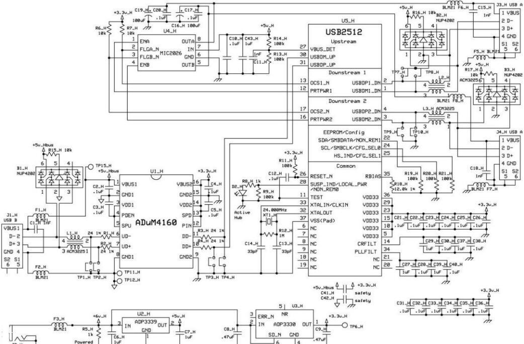 ADuM4160隔离缓冲器隔离USB集线器电路图