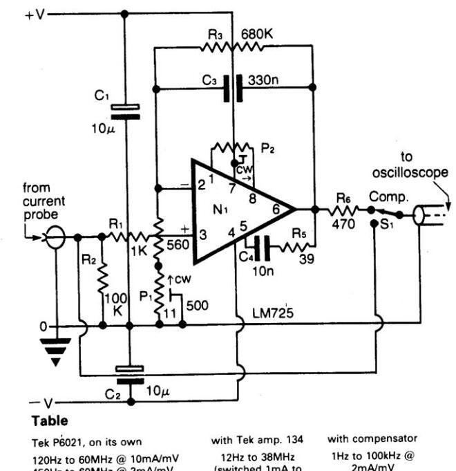 钳留电流探头补偿器电路图