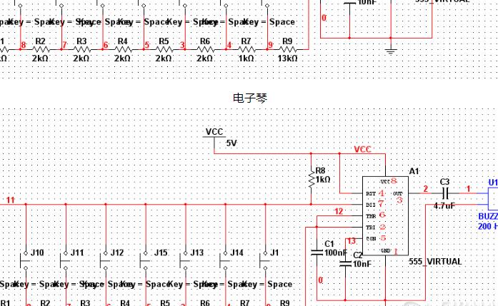 基于NE555的简易电子琴设计(原理图+论文)