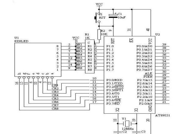8*8 LED点阵显示电路图