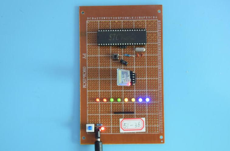基于51单片机的手机无线蓝牙APP控LED灯亮灭亮度系统设计-万用板-原理图+PCB图+程序源码36
