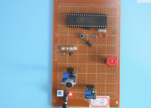 基于51单片机的声光触摸多功能智能台灯声音光照控灯设计-万用板-原理图+PCB图+程序源码27