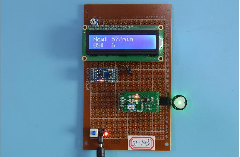基于51单片机的智能手环脉搏心率计步器检测液晶显示设计-万用板-原理图+PCB图+程序源码143