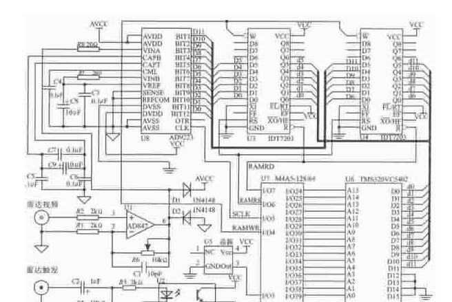 基于DSP芯片TMS320VC5402+A/D变换器AD9223+IDT7203实现雷达回波信号采集和处理系统的设计方案