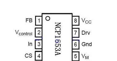 NCP1653A芯片的引脚图及功能、引脚电压、NCP1653A芯片电路图的详解