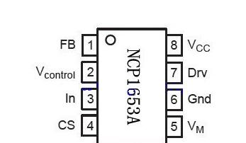 NCP1653A芯片的引脚图及功能、引脚电压、电路图的详解