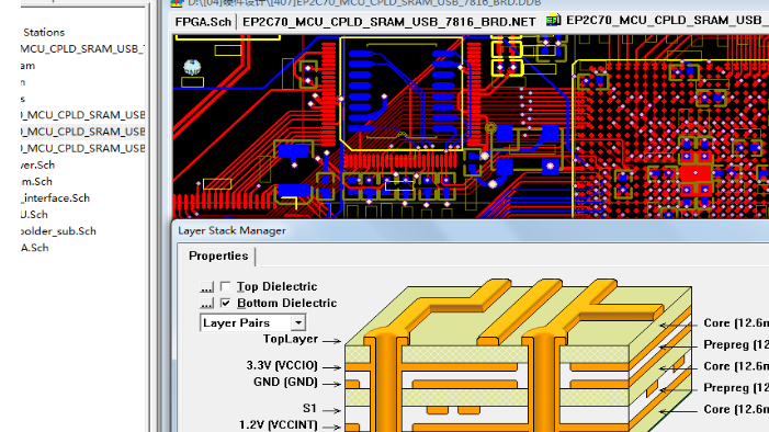 CYCLOEN EP2C70F672 CY7C68013A开发板硬件Protel原理图+PCB文件