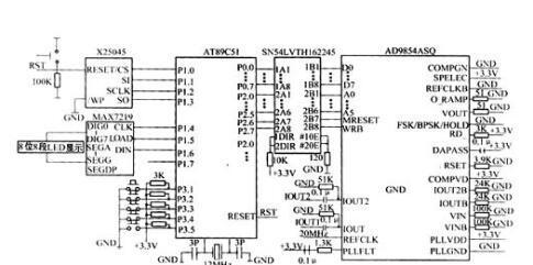 基于AT89C51单片机和DDS芯片AD9854+看门狗定时器X25045+LED显示驱动芯片MAX7219+SN54LVTH16625电平转换芯片的高精度频率信号实现方案