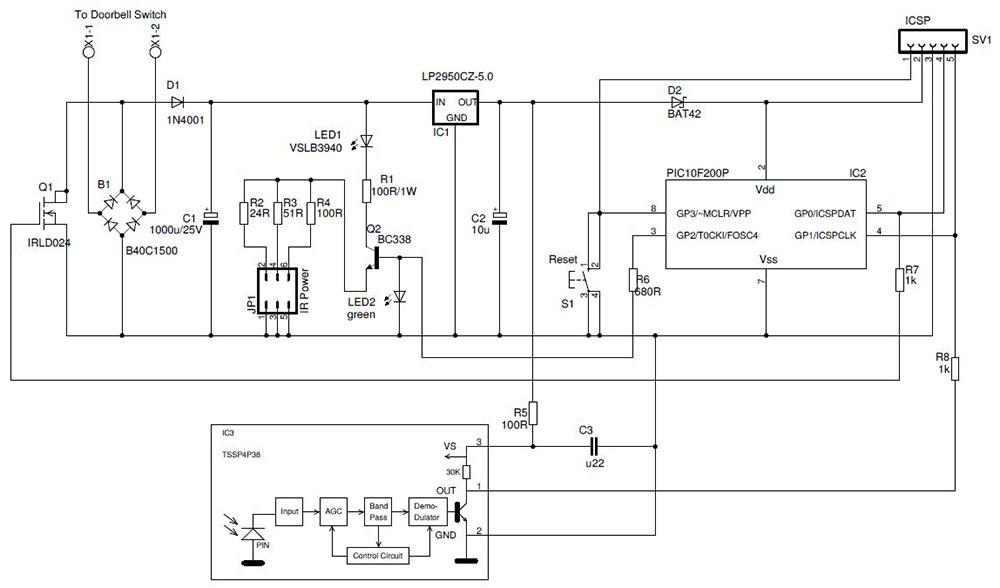 Here is the circuit design for the cat doorbell prototype.