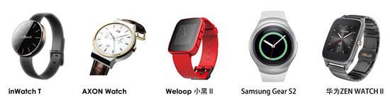 inWatchT,中兴AXONWatch,WeLoop小黑2,SamsungGearS2,华为ZenWatch