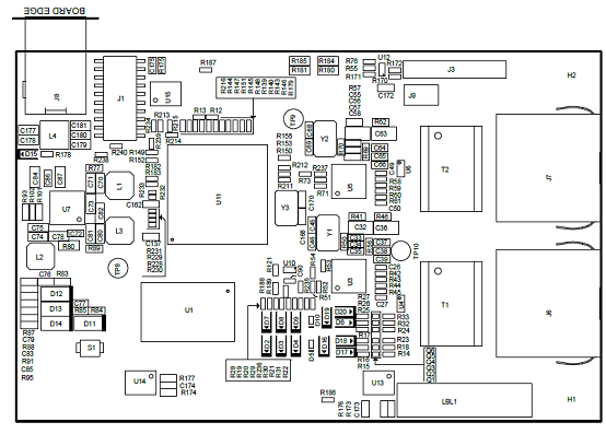 工业通信引擎AMIC110 ICE PCB元件布局图(顶层)
