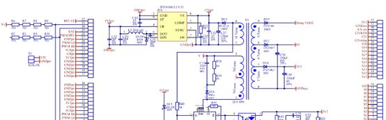 800W Platinum®服务器电源主板电路图:辅助电源,包括控制板和NTC温度传感器连接器